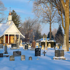 Cemetery in Winter with Sun